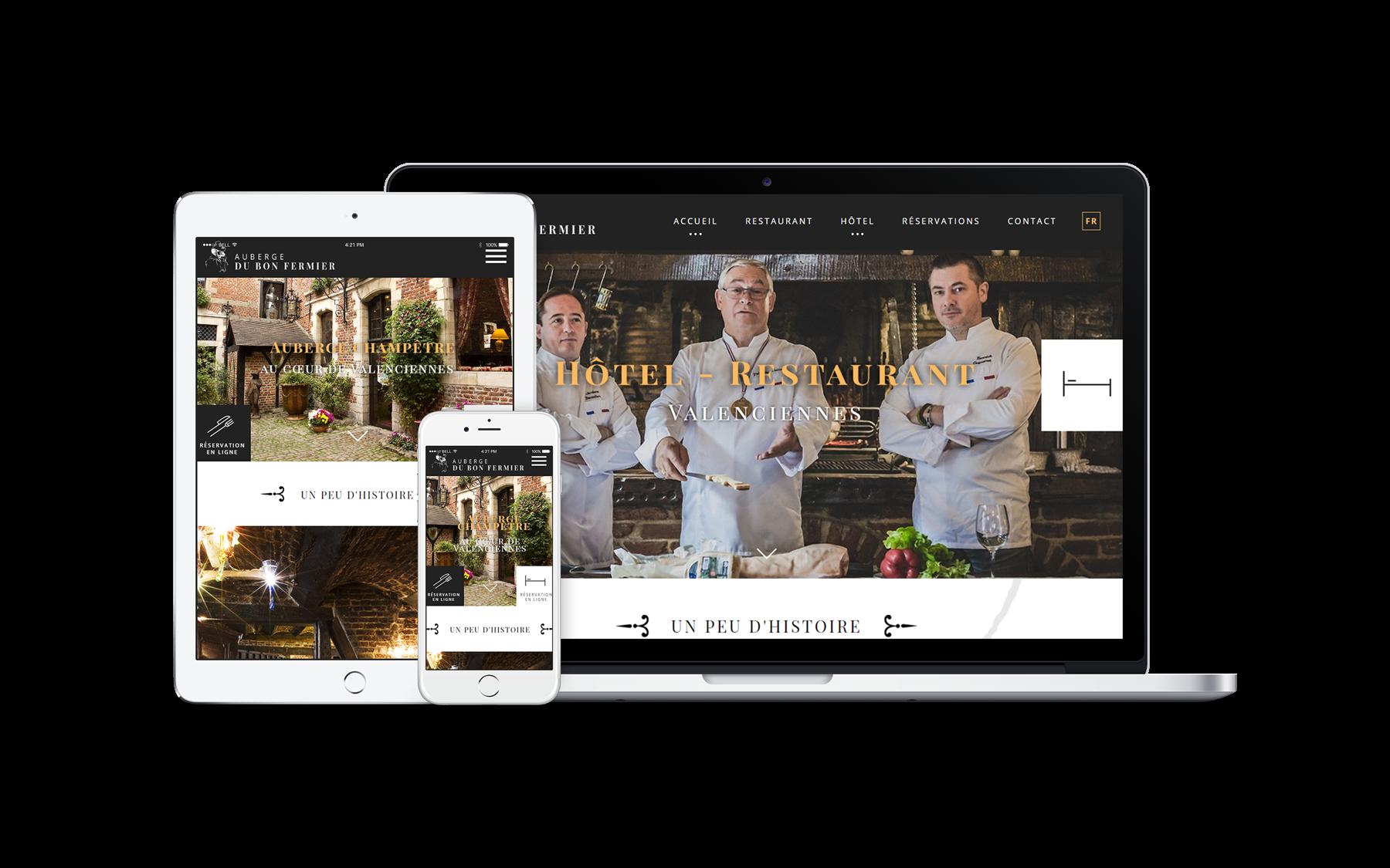 création de site web hotel restaurent auberge le bon fermier
